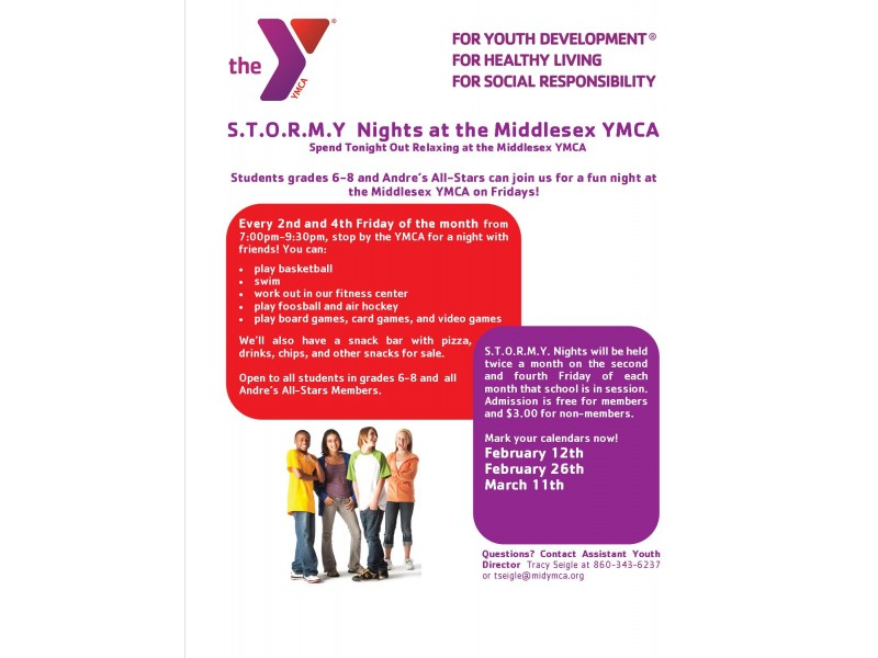 Fun Night Out For Students Grades 6 8 At Middlesex Ymca
