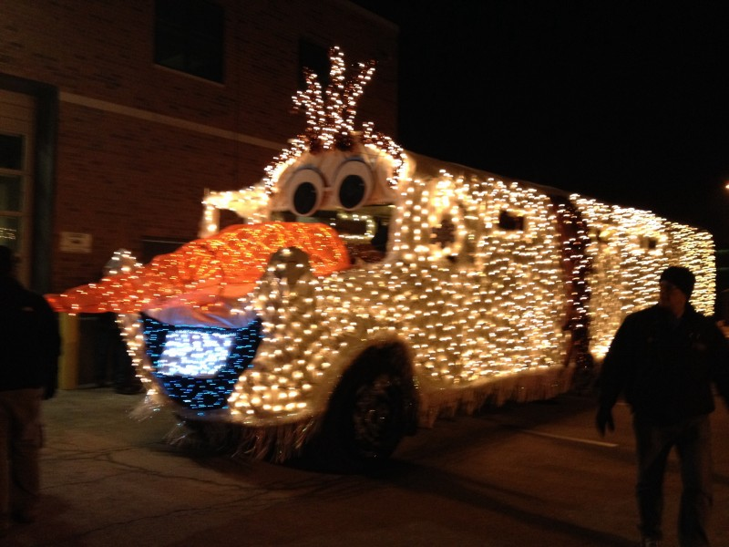 School bus quot lets it go at local festival of lights parade