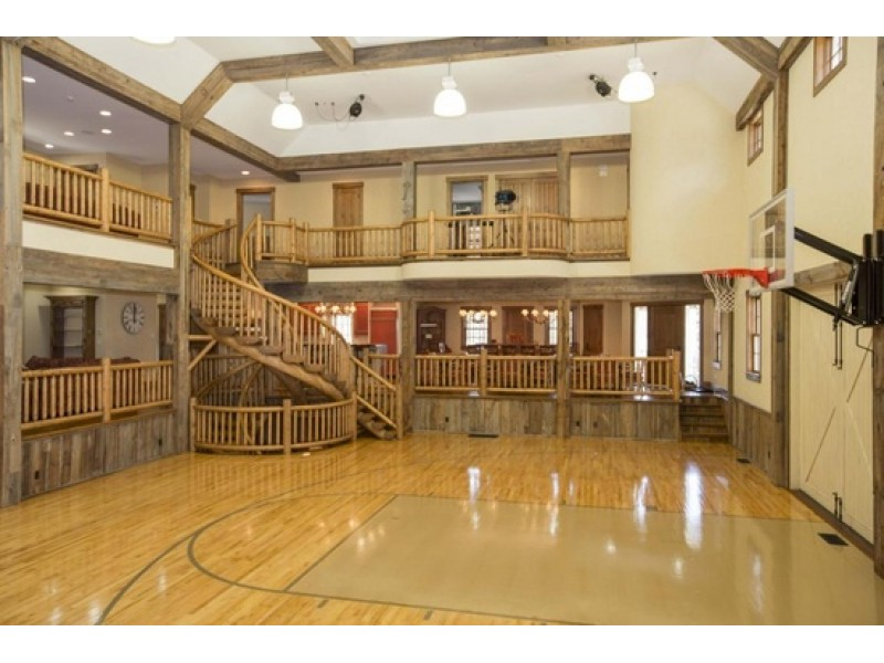 New canaan wow house basketball court thx movie theater for Home indoor basketball court cost