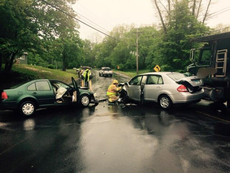 East Windsor Car Accident Involves 2 Cars And A Dump Truck
