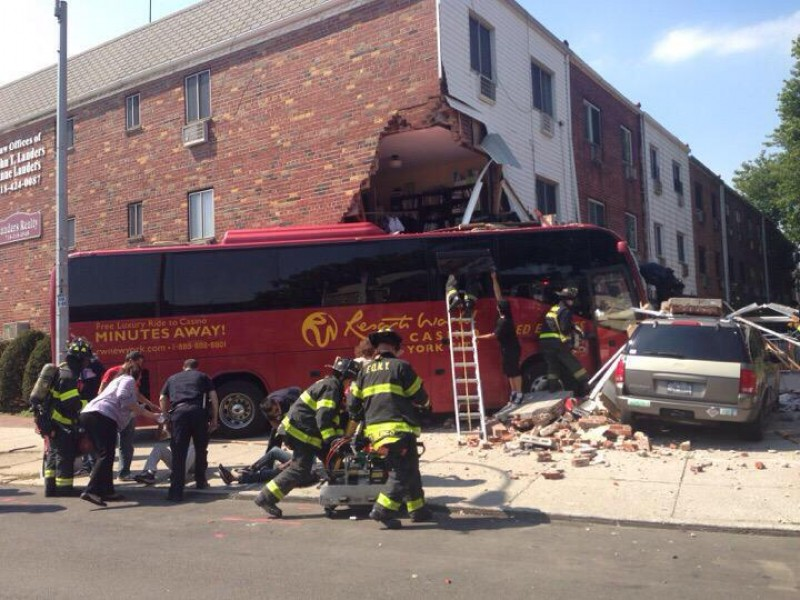 Casino Bus Crashes Into Queens Apartment Building Forest Hills