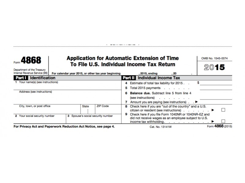 Irs Form  Extension For  Tax Deadline  Oregon City Or Patch