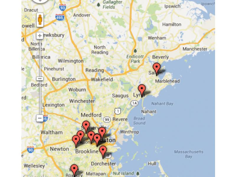 Map Of Boston Strangler Killings Salem MA Patch - Map of us boston