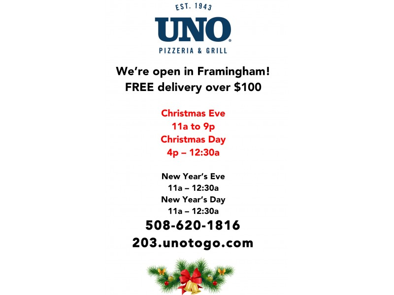 UNO Pizzeria and Grill is OPEN on Christmas Day! - Framingham, MA ...