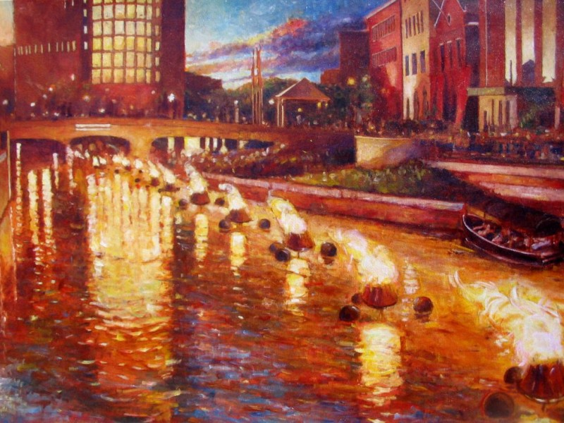 artist mike bryce exhibits waterfire amp ri paintings east