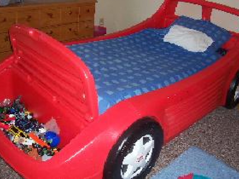 Race Car Twin Bed: LITTLE TIKES RED RACE CAR BED Asking $150