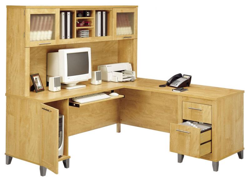 Bush L Shaped Desk With Hutch White Writing Desk