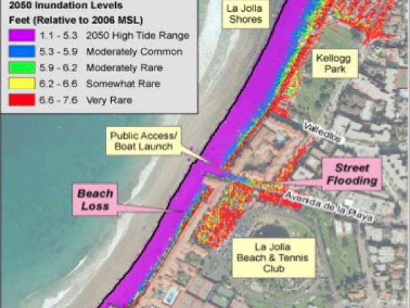 Maps Of San Diego Coast Show Sea Level Rise By La Jolla CA - Sea level rise map 2050