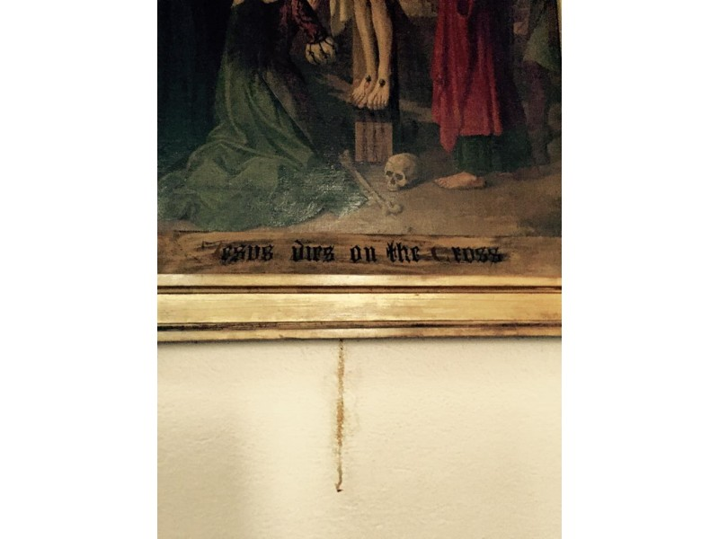 Newport Patch / Stain Below Jesus Painting in Newport Church Seen as a Sign from God
