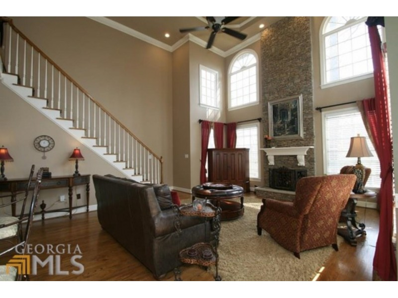 Home Spotlight Floor To Ceiling Stone Fireplace Large